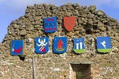 Crestas en la fortaleza de Szigliget foto de archivo