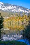 Crestasee i Schweiz i höst fotografering för bildbyråer