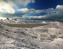 Creste bianche delle montagne Ustyurt Fotografie Stock Libere da Diritti
