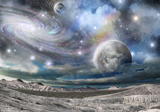 Creste e galassie delle montagne Immagini Stock