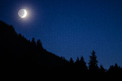 Big lake and Moonlight. Details in Moonlight in the Pacific Northwest stock photo