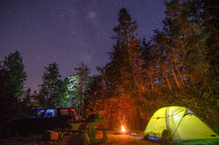 Camping in America. Camping under the stars stock photography