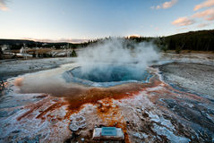 Crested Pool, Yellowstone. Yellowstone Hotspring, the blue water is almost at boiling temperature Stock Image