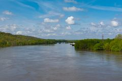 Cresting Illinois River. Flooded Illinois River in LaSalle, Illinois.  May 3rd, 2019 royalty free stock photos