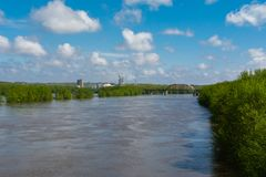 Cresting Illinois River. Flooded Illinois River in LaSalle, Illinois.  May 3rd, 2019 royalty free stock image