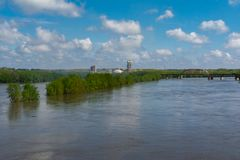 Cresting Illinois River. Flooded Illinois River in LaSalle, Illinois.  May 3rd, 2019 stock photography