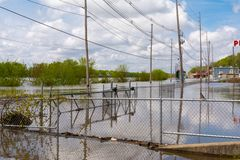 Cresting Illinois River. Illinois River cresting on Water Street in Peru, Illinois.  May 3rd, 2019 stock photography