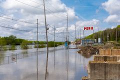 Cresting Illinois River. Illinois River cresting on Water Street in Peru, Illinois.  May 3rd, 2019 stock image