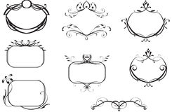 Crests and Banners. Decorative ornamented frames for use as banners, titles, or decorative elements Stock Image