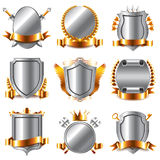 Crests and coat of arms icons vector set. Crests and coat of arms icons detailed photo realistic vector set Royalty Free Stock Photography