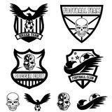 Crests set with eagles and skulls Royalty Free Stock Photo