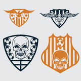 Crests set with eagles and skulls Royalty Free Stock Photography