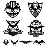 Crests set with eagles vector design template Stock Photos