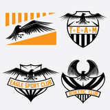 Crests set with eagles vector design template Royalty Free Stock Photos
