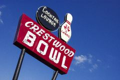 Crestwood Bowl sign on Route 66 St. Louis Missouri United States. Crestwood bowl sign on watson road st. louis missouri route 66 united states royalty free stock photo