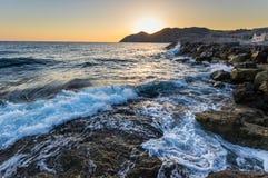 Creta do nascer do sol do Seascape, Grécia Fotografia de Stock