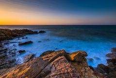 Creta do por do sol do Seascape, Grécia foto de stock royalty free