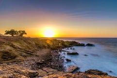 Creta do por do sol do Seascape, Grécia imagem de stock royalty free