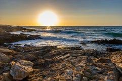 Creta do por do sol do Seascape, Grécia Imagens de Stock