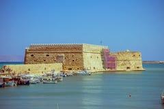 Creta Heraklion o 25 de agosto: Fortaleza Venetian Koules Foto de Stock
