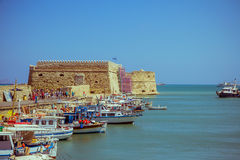 Creta Heraklion o 25 de agosto: Fortaleza Venetian Koules Imagem de Stock