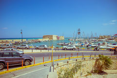 Creta Heraklion o 25 de agosto: Fortaleza Venetian Koules Fotografia de Stock