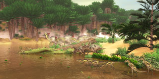 Cretaceous Dinosaur River Royalty Free Stock Photos