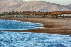 Cretan beaches at evening time, Crete, Greece. Cretan beaches at evening time,  Crete island, Greece Stock Photo