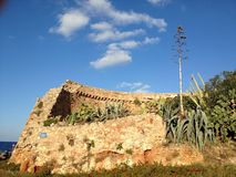 Cretan fortress. Destroyed Cretan fortress in the port of Rethymno Royalty Free Stock Photo