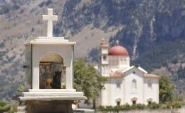 Cretan funeral memorial and church. Lakki. Greece Stock Photography