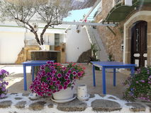 Cretan Home. Typical cretan home with floeur and tree in Malia old town Royalty Free Stock Images