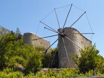 Cretan mills. Photo of two old cretan windmills Royalty Free Stock Images