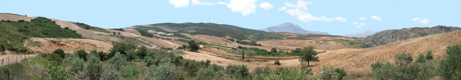 Cretan panorama. A composite landscape of central Crete, above Ano Malaki, combining five or six high-resolution photos stock photo