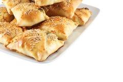 Cretan pies with sesame seeds Stock Images