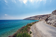 Cretan road along the coast of Crete island with beautiful lagoon and mountains Royalty Free Stock Photography