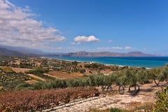 Cretan rolniczy pola w jesieni Zdjęcia Royalty Free