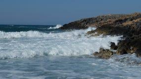 Cretan sea. The Paralia beach of the Cretan sea, not far from the resort town of Malia. The Island Of Crete, Greece Royalty Free Stock Photos