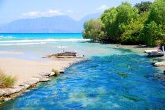 Cretan  sea and river Royalty Free Stock Image