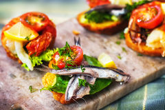 Cretan seafood bruschetta. Selective focus Royalty Free Stock Photography