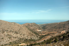 Crete . Panoramic landscape over Mountains in Crete, Greece royalty free stock photography
