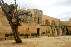 Crete Arkadi Convent. Tree Clouds Royalty Free Stock Photography
