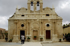 Crete Arkadi convent. Church on a cloudy day Stock Images