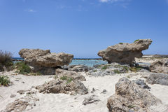 Crete beach Elafonisi stock photos