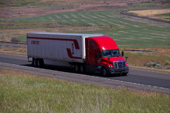 Crete CCC / Red Freightliner Cascadia White Trailer Royalty Free Stock Photo