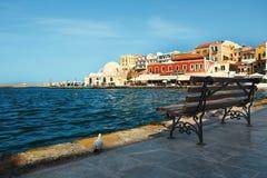 crete Chania cityscape kaj arkivfoto