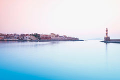 Crete,Chania,View of harbour with city Stock Images
