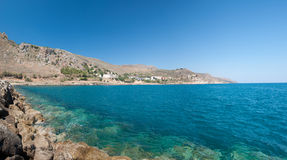 Crete Coastline - Kolymbari. Kolymvari, also known as Kolymbari,  is a town and former municipality in the Chania peripheral unit, Crete, Greece. Since the 2011 Stock Image