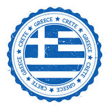 Crete flag badge. Vintage travel stamp with circular text, stars and island flag inside it. Vector illustration Royalty Free Stock Photo