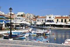 Crete. Greece. Agios Nikolaos. embankment. Lake Voulismeni. Royalty Free Stock Images