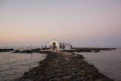 CRETE, GREECE - AUGUST 10, 2018: Crete landmark. Agios Nikolaos Saint Nicholas church, Georgioupoli in Crete, Greece royalty free stock photo
